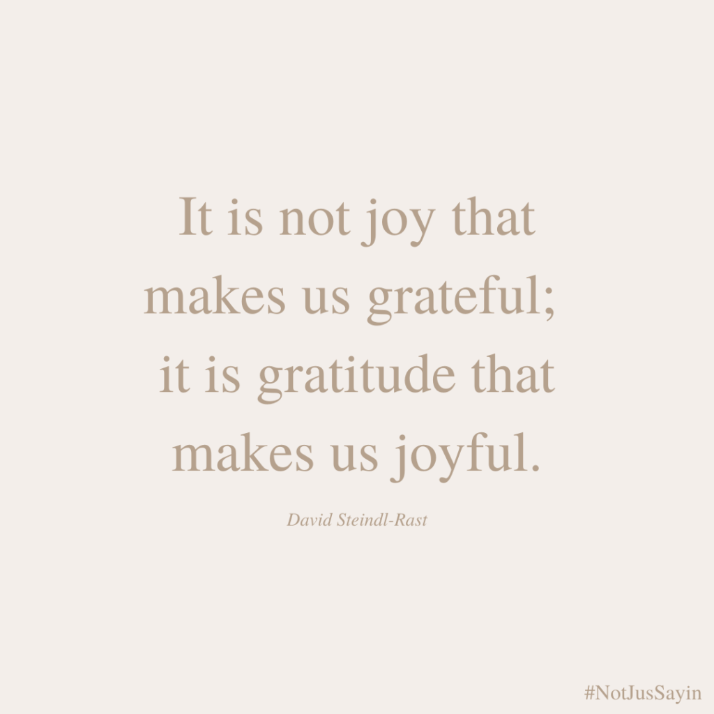 It is not joy that makes us grateful it is gratitude that makes us joyful.