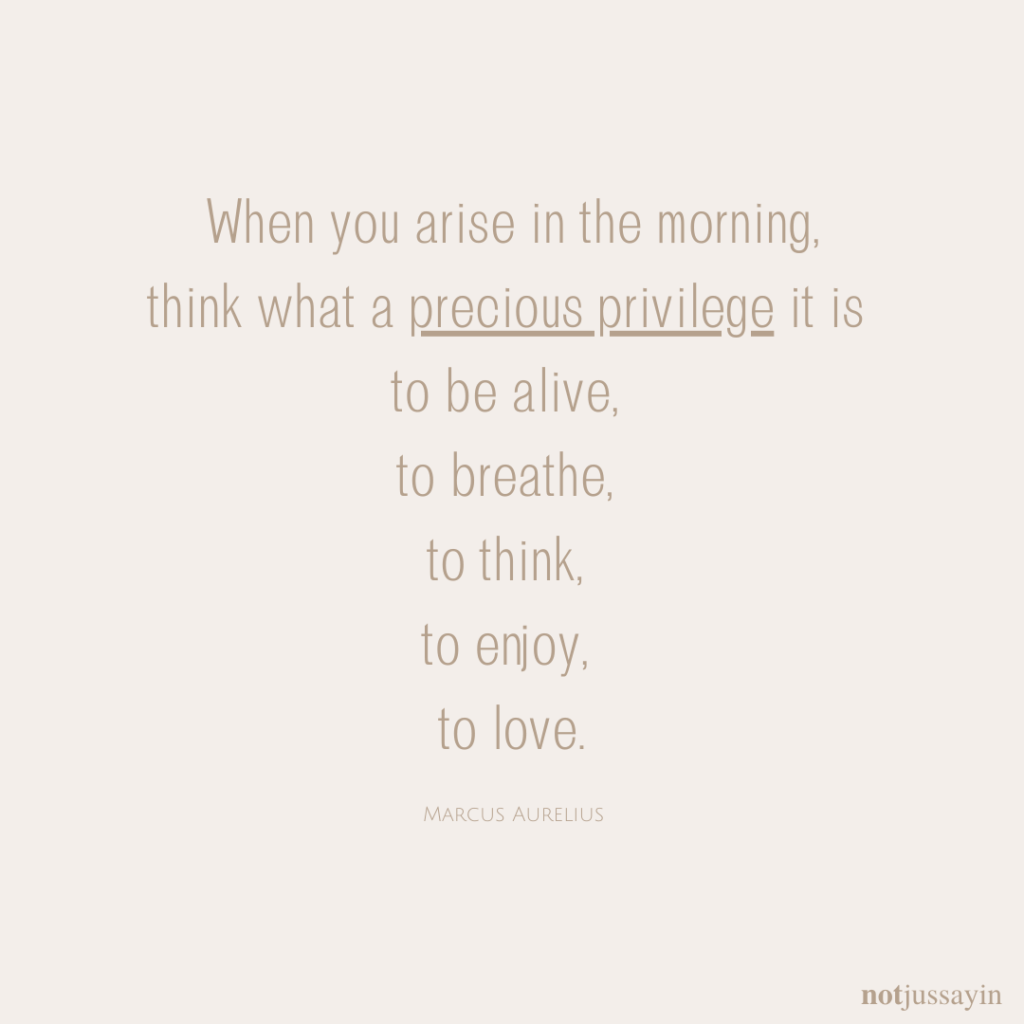 When you arise in the morning,  think what a precious privelege it is  to be alive,  to breathe,  to think,  to enjoy,  to love.