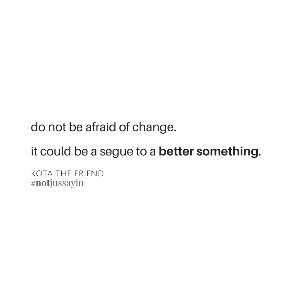 """""""Do not be afraid of change. It could be a segue to a better something.""""    Kota The Friend"""