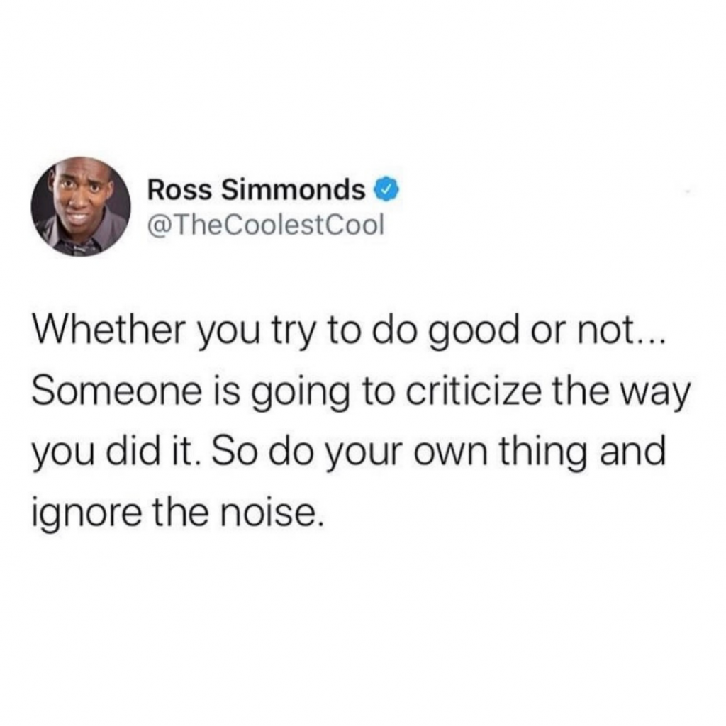 Whether you try to do good or not... Someone is going to criticize the way you did it. So do your own thing and ignore the noise.