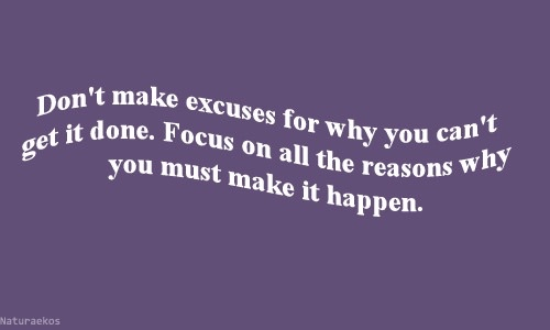 Don't make excuses for why you can't get it done. Focus on all the reasons why you make it happen.