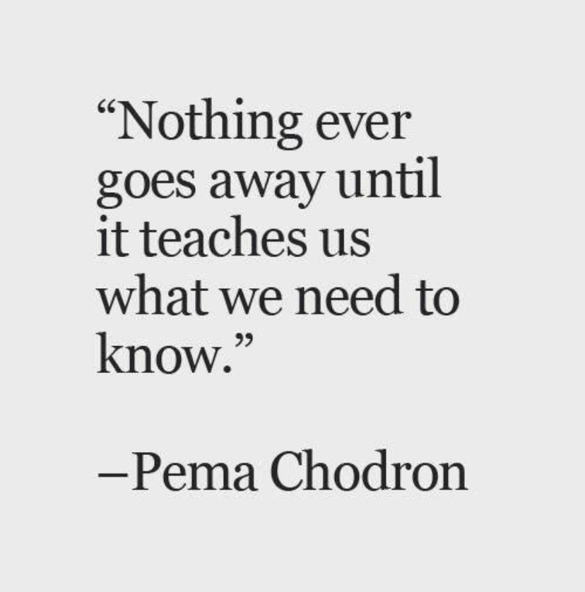 Nothing ever goes away until it teaches us what we need to know.  Pema Chodron