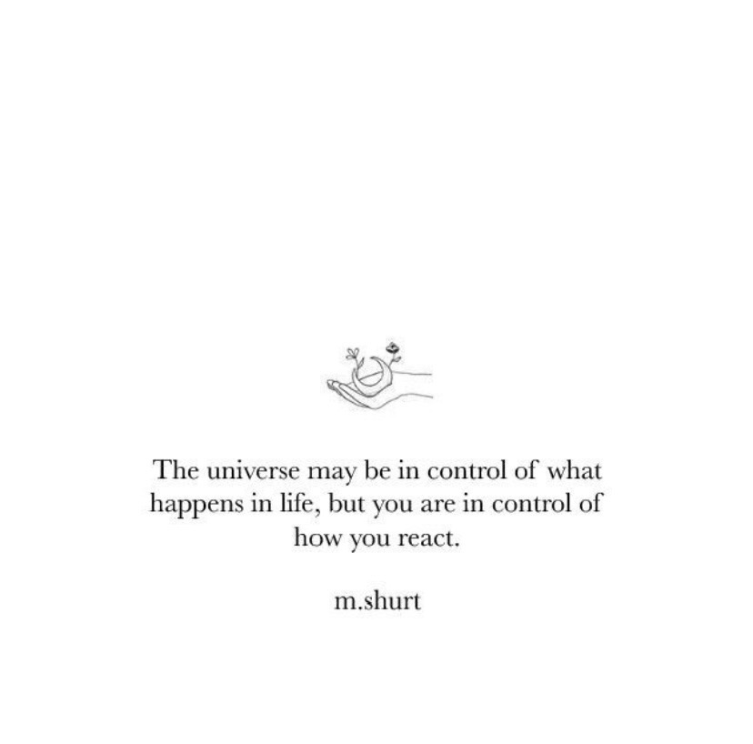 The universe may be in control of what happens in life, but you are in control of how you react.