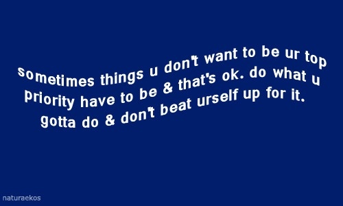 sometimes things u don't want to be ur top priority have to be & that's ok. do what u gotta do & don't beat urself up for it.