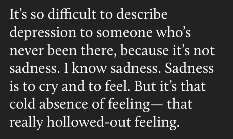 it's so difficult to describe depression to someone who's never been there, because it's not sadness. I know sadness. Sadness is to cry and to feel. But it's that cold absence of feeling -- that really hollowed-out feeling.