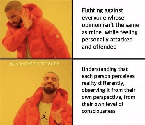 fighting against everyone whose opinion isn't the sameas mine, while feeling personally attacked and offended.  understanding that each person perceives reality differently, observing it from their own perspective, from their own level of consciousness - spiritual memes woke memes