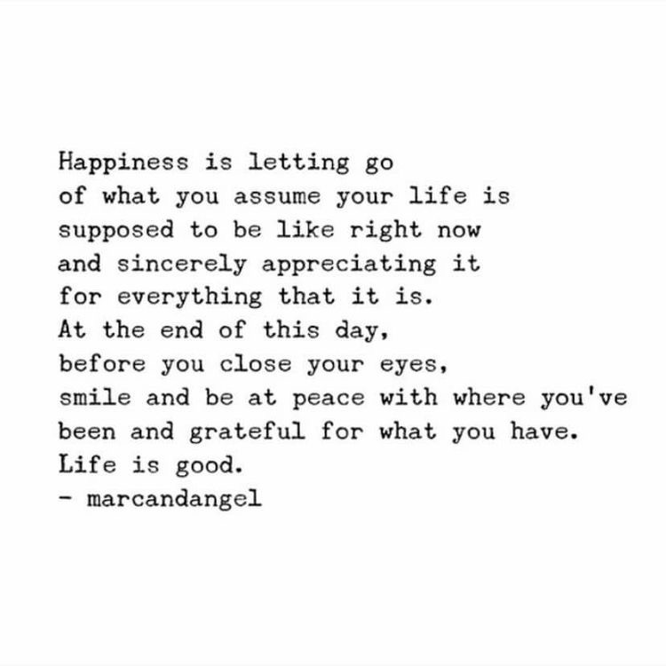 happiness is letting go of what you assume your life is supposed to be like right now and sincerely appreciating it for everything that it is. at the end of this day, before you close your eyes, smile and be at peace with where you've been and grateful for what you have. life is good. words of wisdom