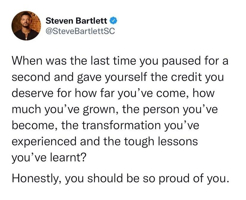 self love - when was the last time you paused for a second and gave yourself the credit you deserve for how far you've come, how much you've grown, the person you've become, the transformation you've experienced and the tough lessons you've learnt? honestly, you should be proud of yourself.