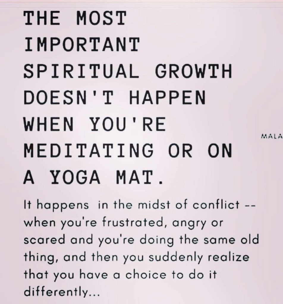 jussayin - the most important spiritual growth doesn't happen when you'e meditating or on a yoga mat. it happens in the midst of conflict - when you're frustrated, angry or scared and you're doing the dame old thing, and then you suddenly realise that you have a choice to do it differently.