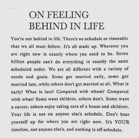 on being behind in life